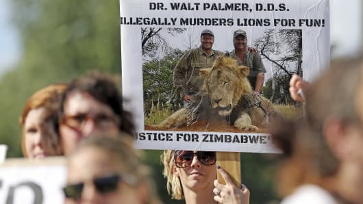 Protesters hold signs during a rally outside the River Bluff Dental clinic in Bloomington, Minnesota July 29, 2015, against the killing of a famous lion in Zimbabwe.